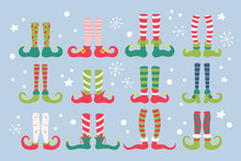 Cute Christmas Elf Feet With Socks And Shoes Set.