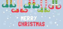 Cute Christmas Banner Design With Elf Feet In Socks And Shoes.