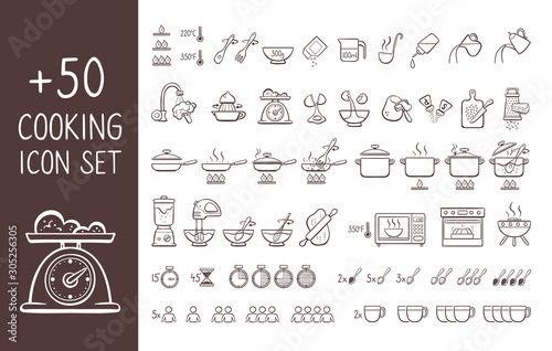 Fototapeta Set of hand drawn cooking icons, perfect for giving cooking instructions and explain cooking recipes. Hand drawn doodle icons isolated on white background. obraz