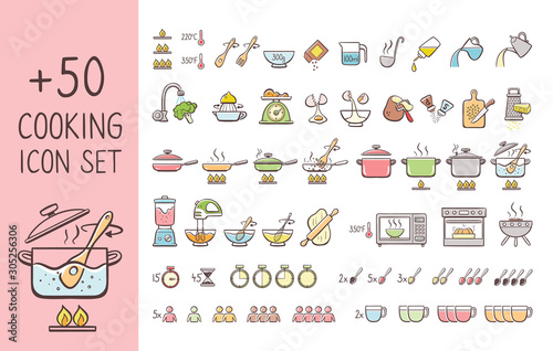 Fototapeta Set of hand drawn cooking icons, perfect for giving cooking instructions and explain cooking recipes. Hand drawn colorful icons isolated on white background. obraz