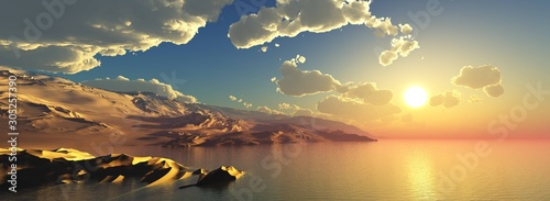 Foto auf AluDibond Grau panorama of the ocean sunset, sea sunset, the sun in the clouds over the water, 3D rendering