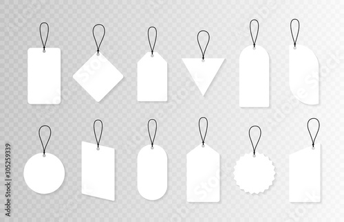 Fototapety, obrazy: Set of empty sale or price tags in different shapes. Set of blank labels for discount, sale, price tags. Vector graphic design
