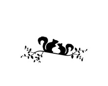 Two Squirrels Silhouettes On Branch Illustration, Vector. Wall Decals, Wall Art Work, Poster Design Isolated On White Background. Minimalist Background.