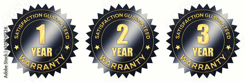 Cuadros en Lienzo 1,2,3 year warranty black and gold label icons isolated on white, 3d illustratio
