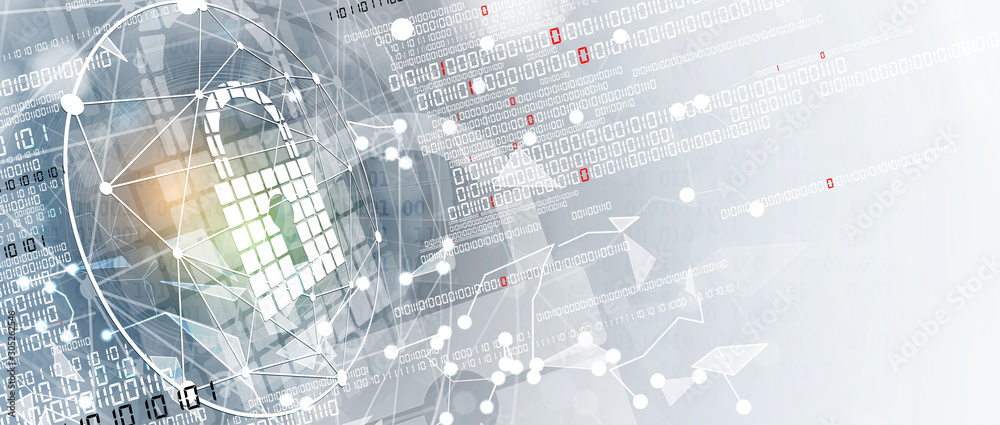 Fototapeta internet digital security technology concept for business background. Lock on circuit board