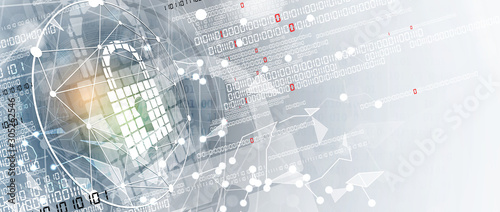 internet digital security technology concept for business background Canvas Print