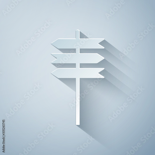 Paper cut Road traffic sign. Signpost icon isolated on grey background. Pointer symbol. Blank board with place for text. Street information sign. Direction sign. Paper art style. Vector Illustration