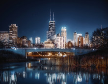 Chicago Skyline At Night From ...