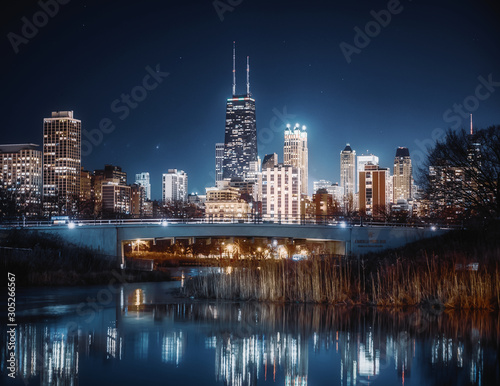 Chicago skyline at night from Lincoln Park in Chicago, Illinois, USA Canvas Print