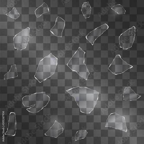 Fototapeta  Broken glass vector shards with sharp edges on transparent background