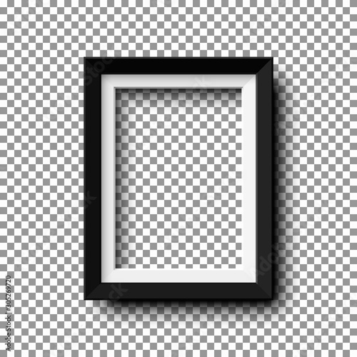 Realistic vertical picture frame isolated on transparent background. Wall mural