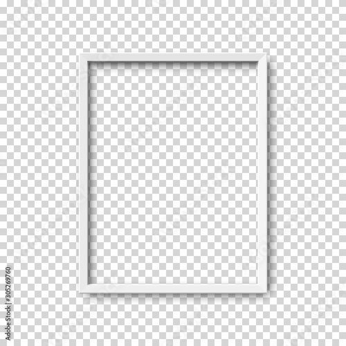 Fotografía  Realistic vertical picture frame isolated on transparent background