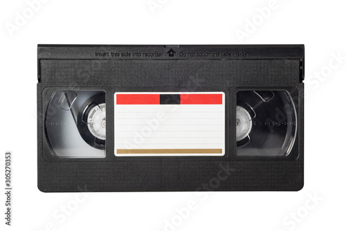 Fotografering VHS video tape isolated on white background. Close-up