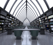 3d Render Of Modern Library Interior