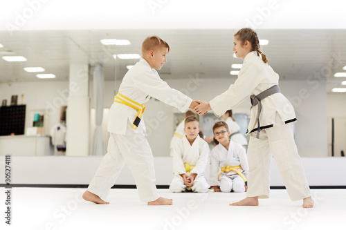 Photo Boy and girl standing opposite the each other and fighting with other children s