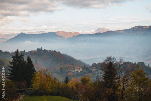 A thick fog enveloped the Upper city of Bergamo. Canvas Print