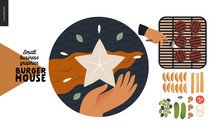 Burger House -small Business Graphics - Our Concept Icon And Food -modern Flat Vector Concept Illustrations -web Icon Mission And Concept - Star And Flag, Grill Process, French Fries, Vegetable