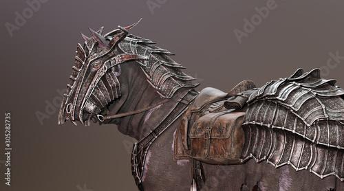 Photo War Horse Wearing Armour