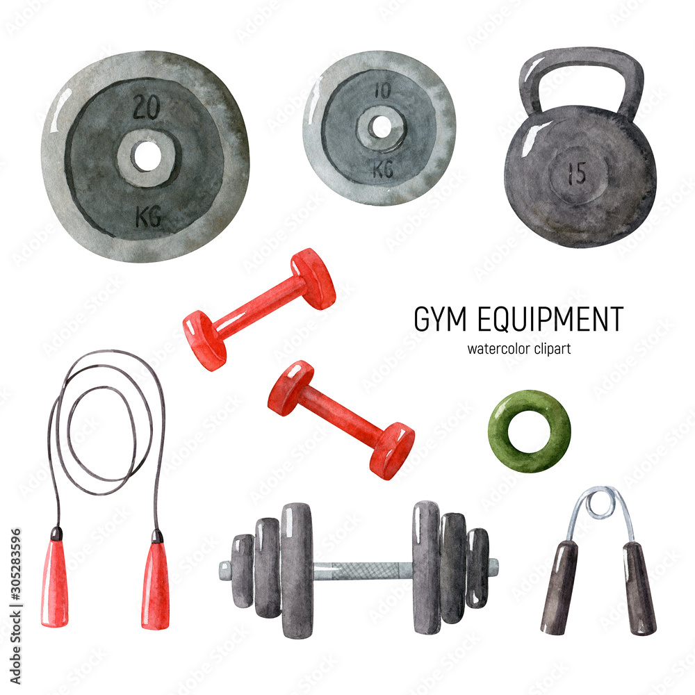 Watercolor set with gym equipment isolated on white background. Illustration with three dumbbells, barbell weights, two expanders, jumping-rope. Hand drawn clipart.