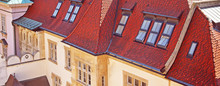 Beautiful View Of Old Vintage Building With Red Roof In Old Town In Bratislava, Slovakia. Banner