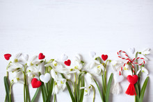 Snowdrops And Red, White Hearts On A Wooden Background For Congratulations