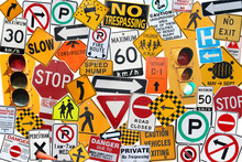 A Collection Of Traffic, Caution, Driving And Street Signs Montage With White Background.