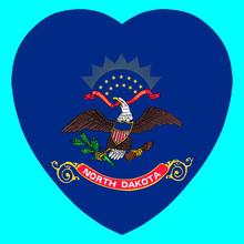 North Dakota Flag In Heart Sha...
