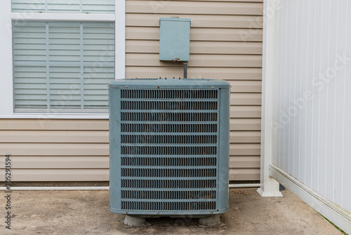 Old Air Conditioning Unit On Condo Patio Canvas Print
