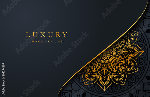 Luxury background with gold islamic arabesque ornament on dark surface Canvas Print