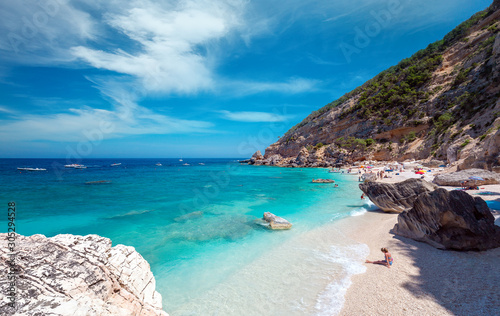 Cala Mariolu famous beach in Sardinia, on a clear day - Nuoro province National Wallpaper Mural