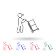 Man drives packing boxes in a cart multi color icon. Simple thin line, outline vector of logistic icons for ui and ux, website or mobile application