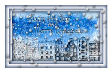 Happy New Year And Merry Christmas Design. Watercolor Hand Drawn Old European City