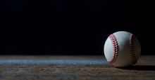 Baseball Ball On Wooden Table. Team Sport