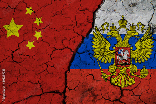 Flag of China and Russia on Textured Cracked Earth Wallpaper Mural