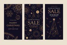 A Set Of Greeting Card With Snowflakes And Festive Decor. Linear Golden Christmas Snowflake On A Black Background. New Year's Design Template. Vector Flat. Vertical Format