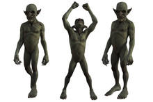 Set Of Goblins Isolated On Whi...
