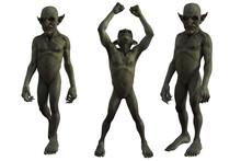 Set Of Goblins Isolated On White, 3d Render.