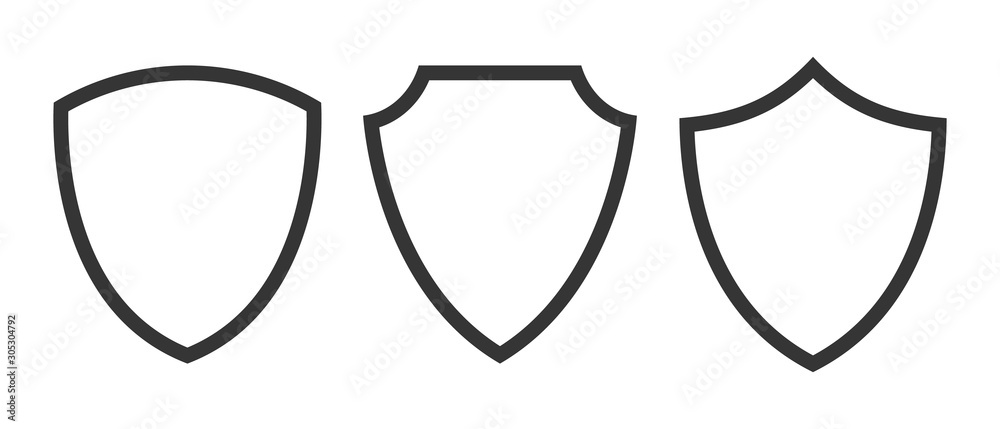 Fototapeta Set of vector Shield icons isolated.