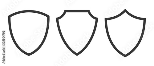 Set of vector Shield icons isolated. Canvas Print