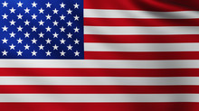Large American Flag Background In The Wind