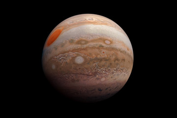 Planet Jupiter, with a big spot. On a black background. Elements of this image furnished by NASA