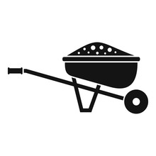 Soil Wheelbarrow Icon. Simple ...