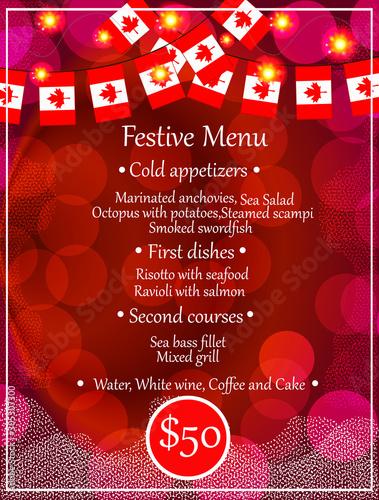 Bright banner festive menu Canvas Print