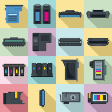 Cartridge Icons Set. Flat Set Of Cartridge Vector Icons For Web Design