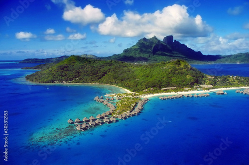 Photo sur Toile Bleu fonce Aerial View of Bora Bora with overwater Bungalows