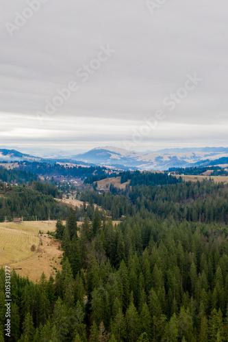 Autumn mountains and blue sky landscape. Traditional landscape in mountains. Carpathians, Ukraine. #305313777