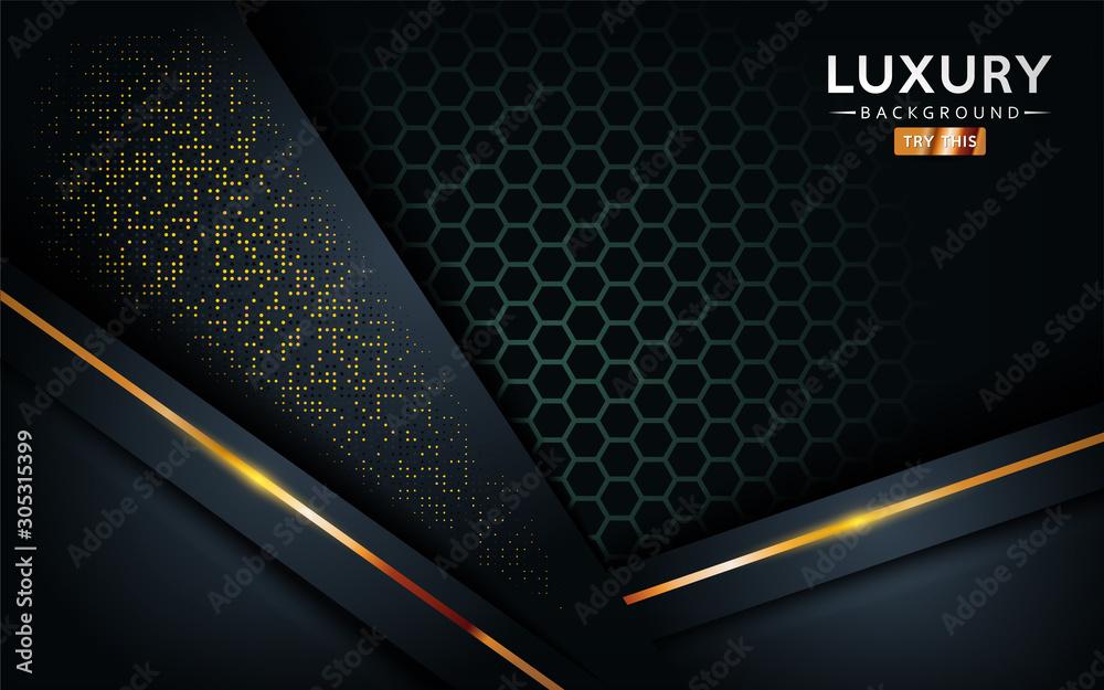 Fototapeta luxurious premium black abstract background with golden lines. Overlap textured layer design.