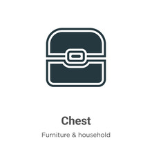 Chest Vector Icon On White Bac...