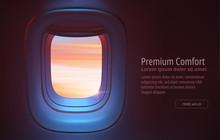 Airplane Porthole In The Eveni...