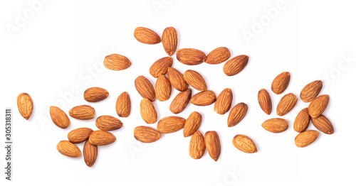 Photo Almond Nuts isolated on white background top view